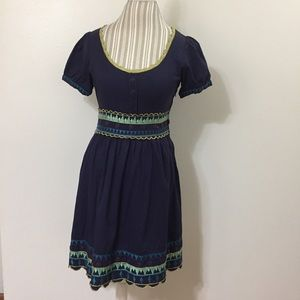 Viola For Anthropologie Ski Embroidered Dress